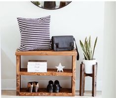 Check out our shoe rack selection for the very best in unique or custom, handmade pieces from our shops. Stain Colors, Rustic Shelves, Shoe Rack, Geometric Shelves, Modern Side Table, Entryway Tables, Home Decor, Modern Table, Shoe Rack Console Table