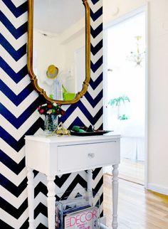 chevron wall wanna do this in my new room at my new house! Decoration Inspiration, Interior Inspiration, Design Inspiration, Bathroom Inspiration, Interior Ideas, Chevron Accent Walls, Navy Chevron, Striped Walls, Navy Blue