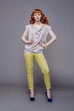 Yellow skinny pants with measure tape prints by Fanfaronada