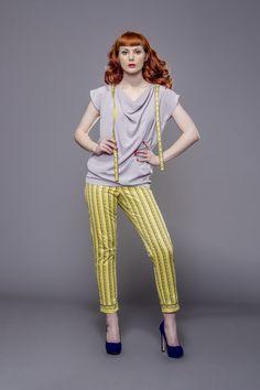 Yellow skinny pants with measure tape prints by Fanfaronada