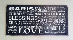 Horizontal Custom Family Rules Subway Art Wooden Sign