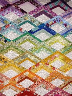 """""""Rainbow Fire Drill"""" by Anne Whiting, Portland OR.   Fire Drill pattern by Elizabeth Hartman, Modern Patchwork book"""