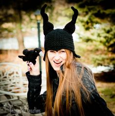 Free Crochet Pattern:  Raven and Evil Lady Horn Hat