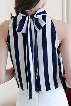 blue + white bow top