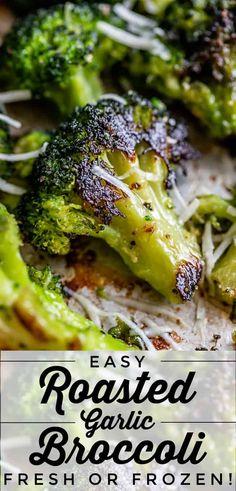 Oven Broccoli, Garlic Broccoli, Fresh Broccoli, Veggie Side Dishes, Vegetable Dishes, Side Dish Recipes, Vegetable Recipes, Dinner Recipes, Frozen Broccoli Recipes