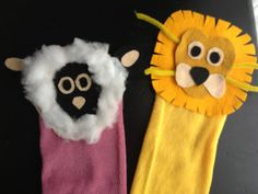 Lion and Lamb sock puppets -