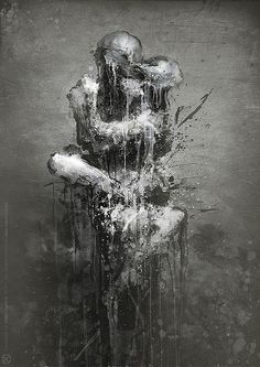 Dark Mixed Media Artworks by Jarek Kubicki