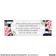 Personalized recipe request card recipe card for bridal showers bridal shower recipe card poem floral navy stripes forumfinder Choice Image