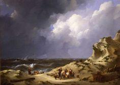De schipbreuk van de driemaster Delphine bij Zandvoort in 1822   J. Schotel. Reder Jacobus de Voogd, die bij de ramp met de Delphine zijn zoon verloor, geeft zijn stadgenoot Schotel opdracht de gebeurtenis op doek vast te leggen. Gebaseerd op het verslag van De Voogd maakt Schotel drie tekeningen, waarvan er twee als voorstudie dienen voor de schilderijen. Op de voorgrond wordt het lichaam van een drenkeling het strand op gedragen, een verwijzing naar de verongelukte zoon van de Dordtse…