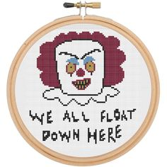 "This cross stich DIY Kit features our illustrated version of Pennywise, the scary clown from the book/film ""IT"". It features the line ""We all float down here"". Suggested colors are included but feel f"