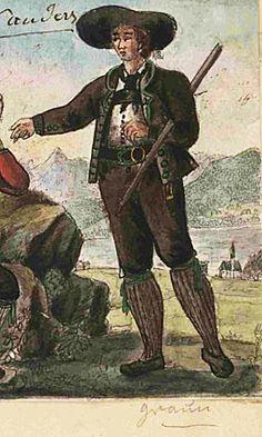 Karl von Lutterotti, kolorierte Federzeichnung um 1830: Männertracht von Graun - Nauders (Tiroler Landesmuseum/Ferdinandeum, F. B. 11928/30).