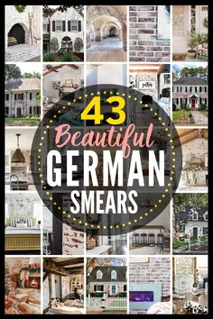43 BEST German Smear projects!! Love the German schmear brick look from Fixer Upper? Confused what the difference between German Schmear, German smear, whitewashed brick, limewashed brick, and painted brick is? Here are your answers! German Schmear, White Wash Brick Exterior, Modern Exterior, Brick Fireplace Makeover, Fireplace Brick, Fireplace Update, Fireplace Remodel, Fireplace Ideas, Fireplace Design