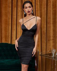 Line  Em Up Strappy Plunge Satin Mini Dress in Black Satin Mini Dress e6f2e628a
