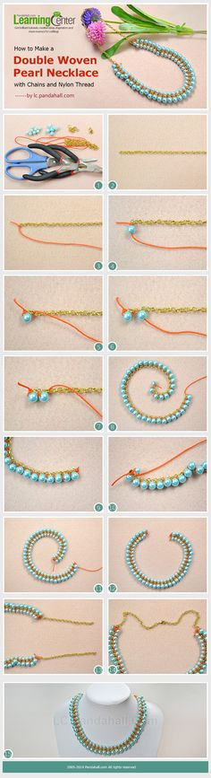 How to Make a Double Woven Pearl Necklace with Chains and Nylon Threads