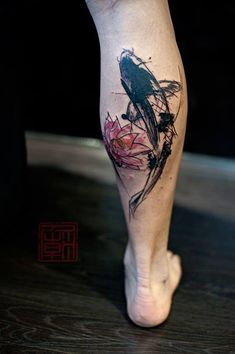 Lotus / Koi - artwork and tattoo by Wang - www.tattootemple.hk #tattoo #koi…