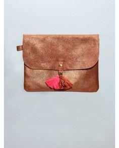 polder leather & tassle clutch