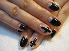 goth cross crucifix inverted black gel nails polish polished gothic vampire vampy
