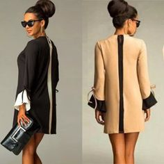 """Show Stopper Chic DressBlack or TanS, M, L Show Stopper Chic DressBlack or TanSmallBust 33""""Length 32.67""""Sleeve Length 23.22MediumBust 34.64""""Length 33.07""""Sleeve Length 23.62""""LargeBust 36.61Length 33.46""""Sleeve Length 24.40"""" I'm offering 30% off bundles. Also, you can use the red dot 4/$20 items to make my discount of 30% kick in  Boutique Dresses Mini"""
