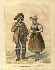 """""""Junge Bauersleute aus Mistelgau"""", altkolorierte Lithographie, um 1840 von N. Ludwig #Oberfranken"""