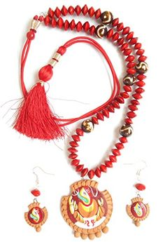 Herbal Jewellery -Hand Painted Ganpati Ganesha Pendant Terracotta Jewellery Necklace Set made of Natural Seeds like Red Adenanthera Pavonina and Natural Soil in 925 Pure Sterling Silver Findings Herbal Jewellery http://www.amazon.in/dp/B014O0B19A/ref=cm_sw_r_pi_dp_LjV7vb15845X4