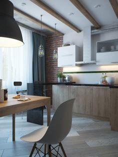 дизайн-проект кухни с деревянными балками