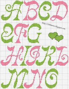 alphabet chart for cross stitch or needlepoint, curvy, mod Cross Stitch Letters, Cross Stitch Baby, Cross Stitch Charts, Cross Stitch Designs, Stitch Patterns, Cross Stitching, Cross Stitch Embroidery, Letras Abcd, Alphabet Charts