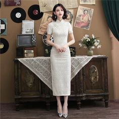 Fabric: Lace Length: Tea-length Silhouette: A-line Collar: Mandarin Collar Sleeve: Short Sleeve Pattern: Floral Cheongsam Modern, Cheongsam Wedding, Cheongsam Dress, Lace Skirt, Lace Dress, White Dress, Ao Dai, Dress Me Up, Ankle Length