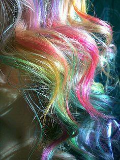 Rainbow curls up close.