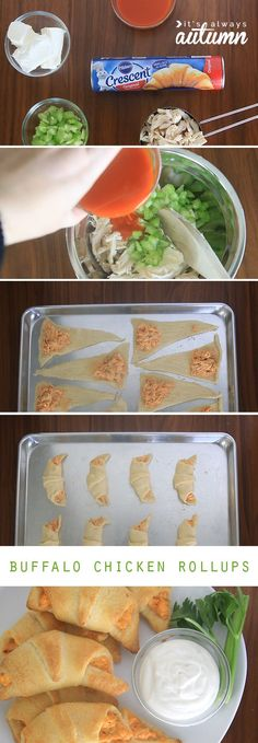So easy! Buffalo Chicken Rollups: this easy recipe is perfect for a quick dinner or holiday party appetizer. Only five ingredients! #sp #warmtraditions