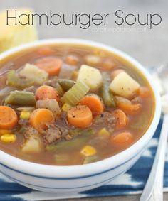 Hamburger Soup may not seem like the most glamorous recipe, but believe me, it's fast, it's easy, it's healthy and it's so good. I highly recommend you serve this yummy Hamburger Soup with some hot Buttermilk Biscuits, Cornbread, or Brown Sugar Cornbread for a big taste of comfort and coziness!!