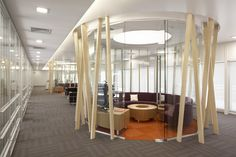 Love this floor treatment! And cool room. Enclosed Circular Meeting Rooms Are A Growing Trend | Turnstone