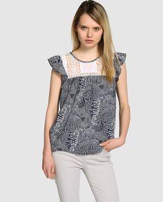 Blusa de mujer Tintoretto estampada con guipur