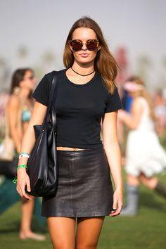 50+ Stylish Folks Who Rocked Coachella #refinery29  http://www.refinery29.com/coachella-style#slide30  In a shrunken Brandy Melville shirt and Museum skirt, Betsy Jieves relies on black.