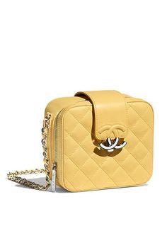 f8b24e76854d Case para câmera, couro de cordeiro & metal prateado-amarelo - CHANEL Louis  Vuitton