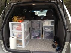 How To make camping easy!!! One drawer per person and one tote with three drawers for kitchen stuff. No more sorting through bags!