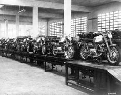Production of Sprint models on assembly line, Varese, Italy factory.|  Harley-Davidson Sprint Models 1961