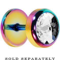 Rainbow Titanium Clear Gem Cheater Plug | Body Candy Body Jewelry