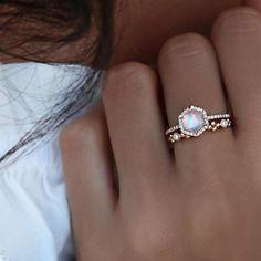 A match made in heaven ✨✨ our moonstone hex ring paired with our diamond Steve ring #lunaskyejewelry