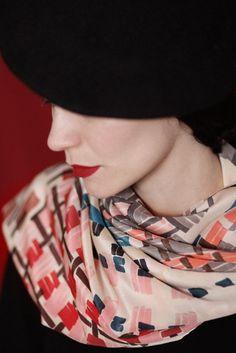 """SuTurno """"Bistro red"""" silk scarf http://shop.suturno.net/product/bistro-red-scarves Photo: Lourdes Cabrera Model: Andrea Pimentel"""
