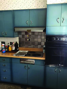 What a lovely color — burnt blue, I'll call it — in these vintage Youngstown steel kitchen cabinets for sale on craigslist in metro St. Vintage Kitchen Cabinets, Kitchen Cabinets For Sale, Refacing Kitchen Cabinets, Painting Kitchen Cabinets, Kitchen Cabinet Design, Pantry Cabinets, Kitchen Pantry, Kitchen Reno, Layout Design
