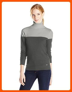 Calvin Klein Women's Long Sleeve Pullover Turtleneck, Heather Gray/Charcoal Granite/Charcoal, X-Large - All about women (*Amazon Partner-Link)
