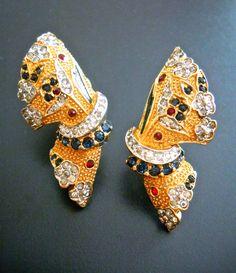 Sapphire Ruby Rhinestone Earrings Gold Tone by RenaissanceFair
