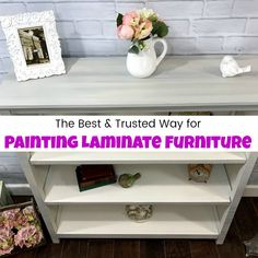 Painting laminate furniture is easier than you may think. If you wonder how to paint laminate furniture, or even can you paint laminate? The answer is yes! See how to paint over laminate in a way to make your painted finish last. This brand new Pottery Barn Bookcase is given a painted furniture makeover.