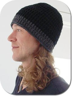 Beanie pattern for your man, he'll actually wear this one! FREE, scroll down and the English version is there