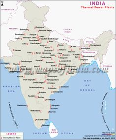 Map showing the location of major thermal power plants in India. India is home to numerous thermal power stations which are renowned all over the world. Geography Map, Physical Geography, Teaching Geography, India World Map, India Map, Ancient Indian History, History Of India, Gk Knowledge, General Knowledge Facts