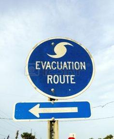 hurricane symbol: streetsign emergency route in eastpoint