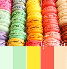 A Macaroon-Inspired Spring and Summer Color Palette Color palette inspiration: necklace Spring Color Palette, Colour Pallette, Spring Colors, Colour Schemes, Color Combos, Pastel Ombre, Design Seeds, Colour Board, Color Blending