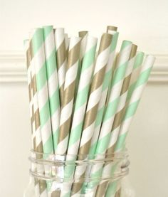 mint_and_gold_Paper Drinking Straws Mint Green Stripes