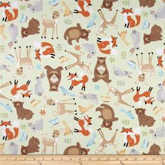 Sweet Meadow Flannel Baby Animals Green from @fabricdotcom  Designed by Arrolynn Weiderhold for Wilmington Prints, this soft, single napped (brushed on one side) flannel fabric is perfect for quilting, apparel and home décor accents. Colors include black, shades of brown, yellow,orange, green, blue, mint and white.