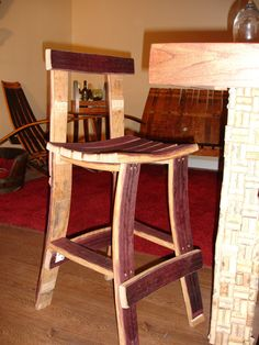 Wine Barrel Bar Stool w/ back by WineyGuys on Etsy, $175.00
